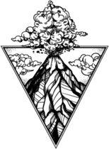 Water overdraagbare Tijdelijke Tattoo: Vulkaan uitbarsting 60x60mm
