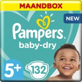 Pampers Baby-Dry - Maat 5+ (Junior+) 13-25 kg - Maandbox 132 Stuks - Luiers