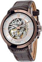 Maserati INGEGNO - R8821119003 -  horloge -  automaat - doorzichtkast - leer - bruin - 46mm