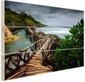 Indonesische brug Hout 120x80 cm - Foto print op Hout (Wanddecoratie)