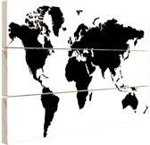 Wereldkaart zwart-wit Hout 60x40 cm - Foto print op Hout (Wanddecoratie)