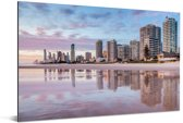 De stedelijke horizon van de Australische Gold Coast in Queensland Aluminium 180x120 cm - Foto print op Aluminium (metaal wanddecoratie) XXL / Groot formaat!