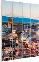 Las Vegas Strip Avond Hout 120x160 cm - Foto print op Hout (Wanddecoratie) XXL / Groot formaat!