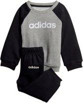264a897845c adidas Linear Fleece Joggingpak Kids Trainingspak - Maat 80 - Unisex -  grijs/zwart/