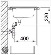 Keramisch spoelbak Blanco Axon II 6 S Opbouw 516544 Vanille. Draaiknopbediening. Rechts