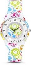 Colori Funtime 5 CLK101 Kinderhorloge met Cirkels - Siliconen Band - Ø 34 mm - Wit / Multikleur