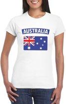 T-shirt met Australische vlag wit dames XS