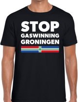 Groningen protest t-shirt - STOP gaswinning Groningen zwart voor heren -  Grunnen STOP gaswinning Groningen shirt voor heren 2XL