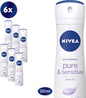 NIVEA Pure & Sensitive Deodorant Spray - 6 x 150 ml - Voordeelverpakking