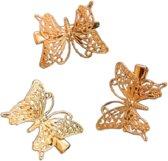 Haarspelden goudkleurige vlinders - 3 stuks