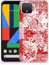 Google Pixel 4 Silicone Back Case Angel Skull Red