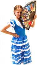 Spaanse jurk - Flamenco - Blauw/Wit - Maat 116/122 (8) - Verkleed jurk