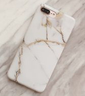 Luxe marmer case voor iPhone 7 - iPhone 8 hoesje wit - goud - back cover soft TPU zacht