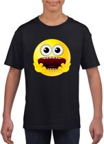 Smiley/ emoticon t-shirt geschrokken zwart kinderen XL (158-164)