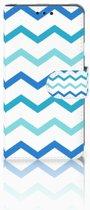 LG X Style Uniek Boekhoesje Zigzag Blauw