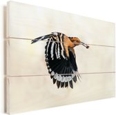 Een hop bevindt heeft een insect in zijn bek tijdens het vliegen Vurenhout met planken 90x60 cm - Foto print op Hout (Wanddecoratie)