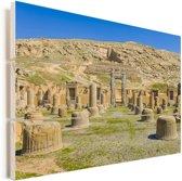Zicht op de overblijfselen van het Iraanse Persepolis in het Midden-Oosten Vurenhout met planken 30x20 cm - klein - Foto print op Hout (Wanddecoratie)