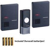 Draadloze Grundig Deurbel met 1 beldrukker en 2 Ontvangers nu inclusief Duracell batterijen Keuze uit licht en geluidssignaal ook beide tegelijkertijd te gebruiken strak tijdsloos design in piano zwarte kleur