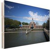 De haven van Ellis Island bij het immigratiemuseum in Amerika Vurenhout met planken 90x60 cm - Foto print op Hout (Wanddecoratie)