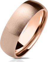 Ring Dames - Heren Ring - Rosé Goudkleurig - Goud Kleur - Ring met Geborstelde Look - Shine
