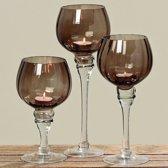 Windlicht - 3 set - 30 cm - Rood/Bruin - Glas