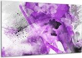 Schilderij   Canvas Schilderij Vrouw, Kunst   Paars, Grijs, Wit   120x70cm 1Luik   Foto print op Canvas