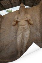 Standbeeld koning Parakramabahu in Polonnaruwa Sri Lanka Poster 120x180 cm - Foto print op Poster (wanddecoratie woonkamer / slaapkamer) XXL / Groot formaat!