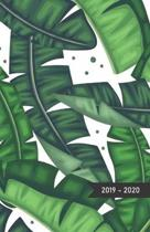 2019 - 2020: Modern Cover of Green Banana Leaves - Academic Planner / Diary / Agenda (Sep-Aug) with monthly calendars + timetable /