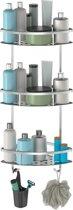 3 Laags Doucherek - Incl. Schroeven & Lijm – Roestvrij Aluminium – Hoek Model – Draagkracht Tot 22 Kg