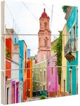 FotoCadeau.nl - Gekleurde huizen Mexico Hout 50x50 cm - Foto print op Hout (Wanddecoratie)