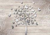 Fotobehang Butterflies Tree | M - 104cm x 70.5cm | 130g/m2 Vlies