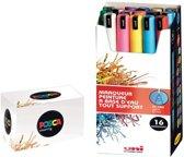 Uni-ball Paint Marker op waterbasis Posca PC1MR.  ETUI van 16 stuks in geassorteerde kleuren