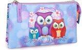 Etui - Polyester - Emoji Uil - Meisjes - 21 cm - Blauw en roze