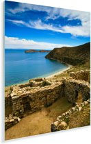 Zonnetempel ruïne aan blauw water Isla del Sol Bolivia Plexiglas 40x60 cm - Foto print op Glas (Plexiglas wanddecoratie)