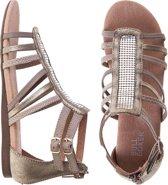 Bullboxer - platte sandalen - maat 33 - meisjes - taupe - metallic - leder