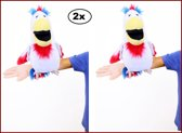 2x Buikspreekpop papegaai 45 x 22cm