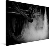 Zwart-wit foto van een stoomlocomotief Canvas 180x120 cm - Foto print op Canvas schilderij (Wanddecoratie woonkamer / slaapkamer) XXL / Groot formaat!
