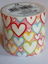 masking tape Roze met Hartjes G - decoratie washi papier tape - 48 mm x 4 m