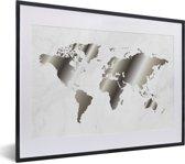 Foto in lijst - Zwart-wit beeld van een wereldkaart met marmeren achtergrond fotolijst zwart met witte passe-partout klein 40x30 cm - Poster in lijst (Wanddecoratie woonkamer / slaapkamer)