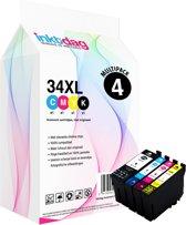 Inktdag inktcartridges voor Epson 34 XL, multipack van 4 kleuren (1*BK, C, M en Y)