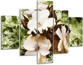 Glasschilderij Bloem | Bruin, Groen, Zwart | 100x70cm 5Luik | Foto print op Glas |  F003343