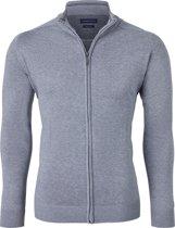 Casa Moda heren vest katoen - grijs (met rits) -  Maat M