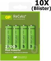 40 Stuks (10 Blisters a 4st) - GP Recyko+ 2700 Series AA/HR06 2600mah 1.2V NiMH Oplaadbare Batterijen