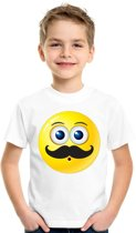 Smiley/ emoticon t-shirt snor wit kinderen XL (158-164)