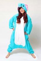 KIMU Onesie olifant pak kostuum blauw - maat L-XL - olifantenpak jumpsuit huispak festival