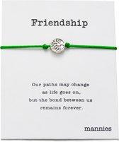 Mannies vriendschapsarmband - 2 stuks - Vriendschaps armband met boodschap! Één voor jou, één voor je vriend(in)! - Meerdere kleuren - Gratis verzending - Vriendschap - Groen