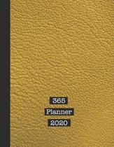 365 Planner 2020: The large professional page per day diary planner for all your organisational requirements - Mustard yellow leather ef