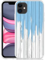 Apple iPhone 11 Hoesje Dripping blue paint