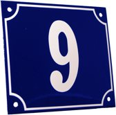 Emaille huisnummer blauw/wit groot nr. 9 18x15cm