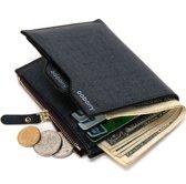 Baborry™ Bifold Leather Wallet - Portemonnee PU leder Heren - Muntvak, Rits & Pasjeshouder - Zwart / Blauw